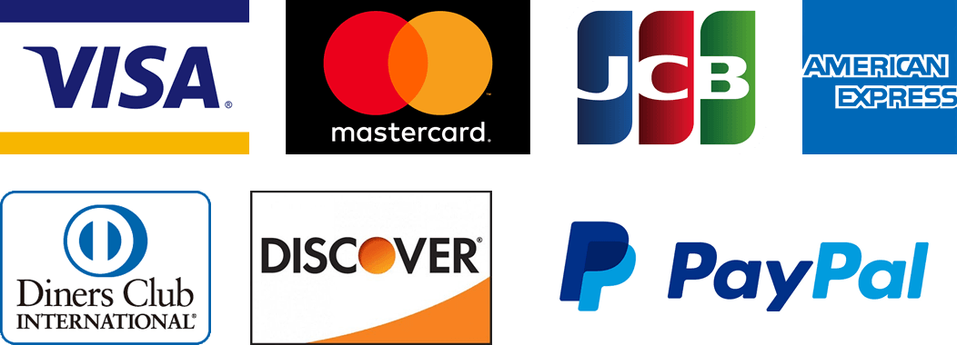 Visa, MasterCard, JCB, American Express, Diners Club, Discover,PayPal